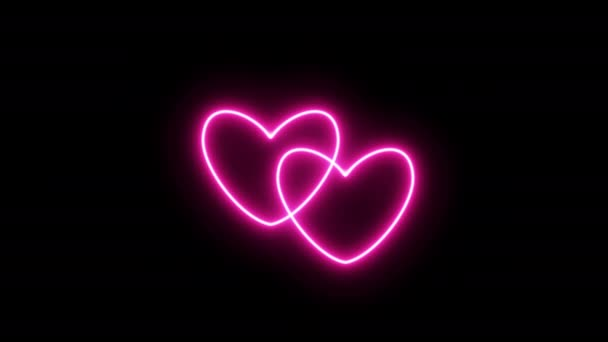 Two beating hearts in unison. Pink Neon Love Sign Animated Videos. Looping realistic animation.