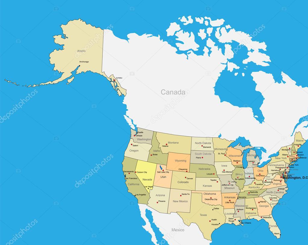 Carte Etats Unis Damerique.Les Etats Unis D Amerique Vecteur Carte Etats Unis Usa
