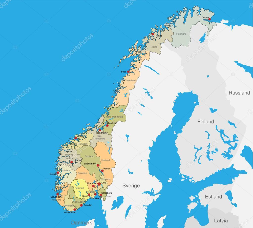 karta över norge Vektor karta över Norge — Stock Vektor © arode #76814727 karta över norge