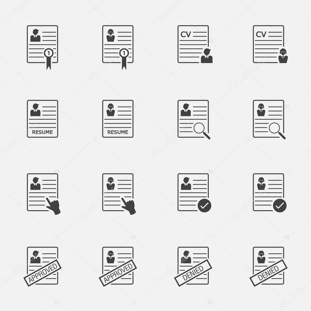 CV - curriculum vitae, curriculum vitae vector botones set — Vector ...