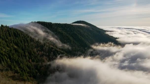 Západ slunce v karpatském horském údolí s nádherným zlatým světlem na kopcích - Časová prodleva