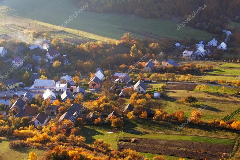 Autumn village in Slovakia countryside