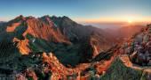Fotografie horské slunce panorama z vrcholu - Slovensko Tatry