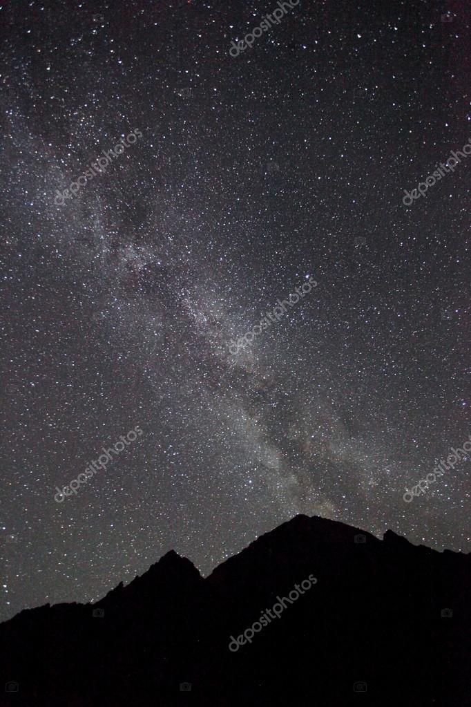 Night sky, Milky way with mountain