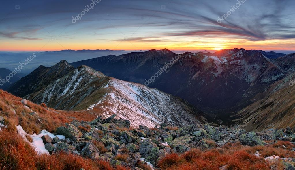 Mountain sunset autumn Tatra landscape, Slovakia