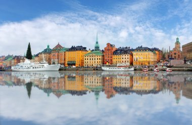 Scenic  panorama of the Old Town (Gamla Stan) pier architecture