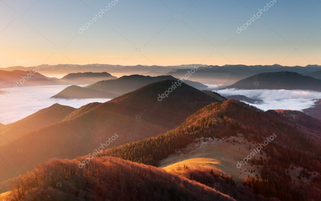 Mountain sunset autumn landscape in Slovakia