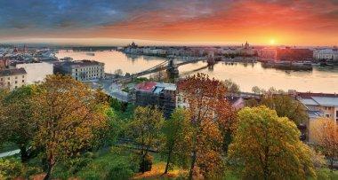 Budapest cityscape at sunrise, panorama of Hungary