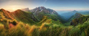 Mountain sunrise panorama in Dolomites, Passo Giau