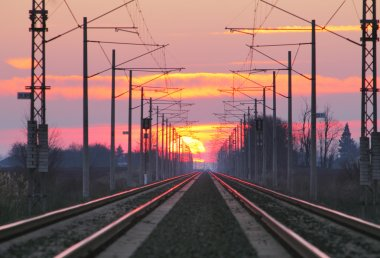 Railway at a sunset