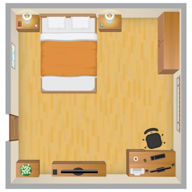 Detailed illustration of bedroom interior from above, EPS 10. clip art vector