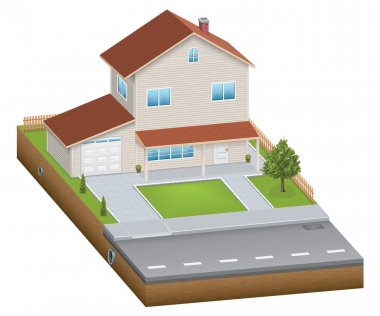 Isometric house with yard