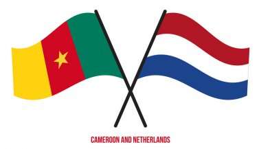 Cameroon and Netherlands Flags Crossed And Waving Flat Style. Official Proportion. Correct Colors. icon