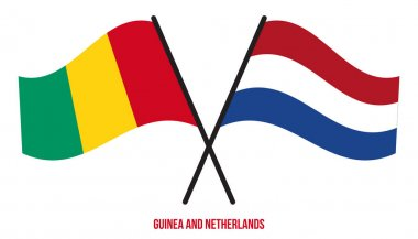 Guinea and Netherlands Flags Crossed And Waving Flat Style. Official Proportion. Correct Colors. icon