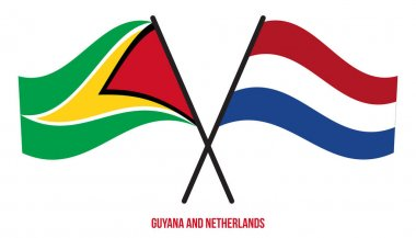 Guyana and Netherlands Flags Crossed And Waving Flat Style. Official Proportion. Correct Colors. icon