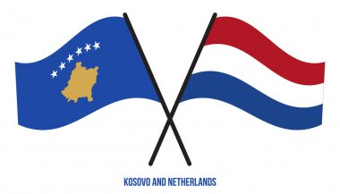 Kosovo and Netherlands Flags Crossed And Waving Flat Style. Official Proportion. Correct Colors. icon