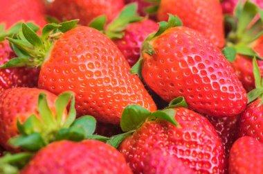 Strawberries background, full frame