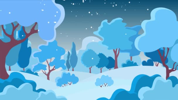 Winter holiday background with trees, sky, clouds. Christmas snowy forest. Rural landscape. Natural, seasonal, bright footage for dynamic, stylish design. Modern trendy animation with beautiful plants.