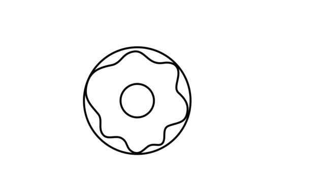 Animation with donuts. Food icon for logo. Dynamic, minimalistic web design for cafe, restaurant, confectionery. Pastry for Birthday, holiday, party. Dessert for menu. Self-drawing a line. 2D flat.