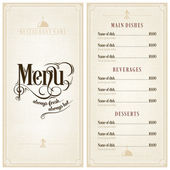 Restaurant or cafe menu design template vintage style. Flourishes calligraphic.