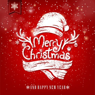 Christmas Greeting Card With Chalk. Merry Christmas lettering illustration