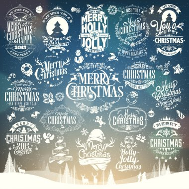 Hand Drawn Christmas And New Year Decoration Set Of Calligraphic And Typographic Design With Labels, Symbols And Icons Elements
