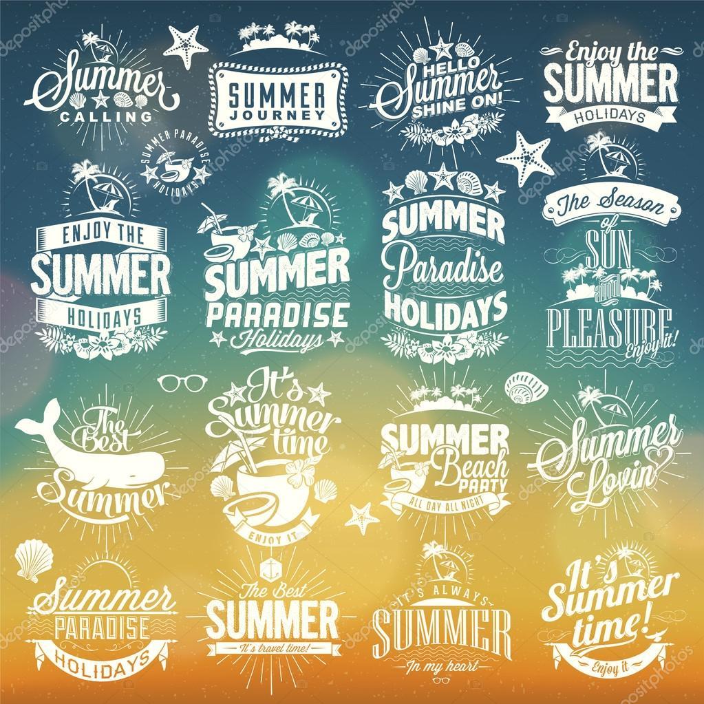 Retro elements for summer calligraphic designs vintage for Sejour design