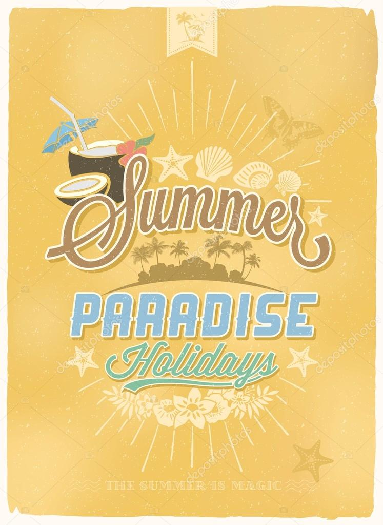 Vintage Retro Summer Beach Party Poster Background With Typography Stock Photo