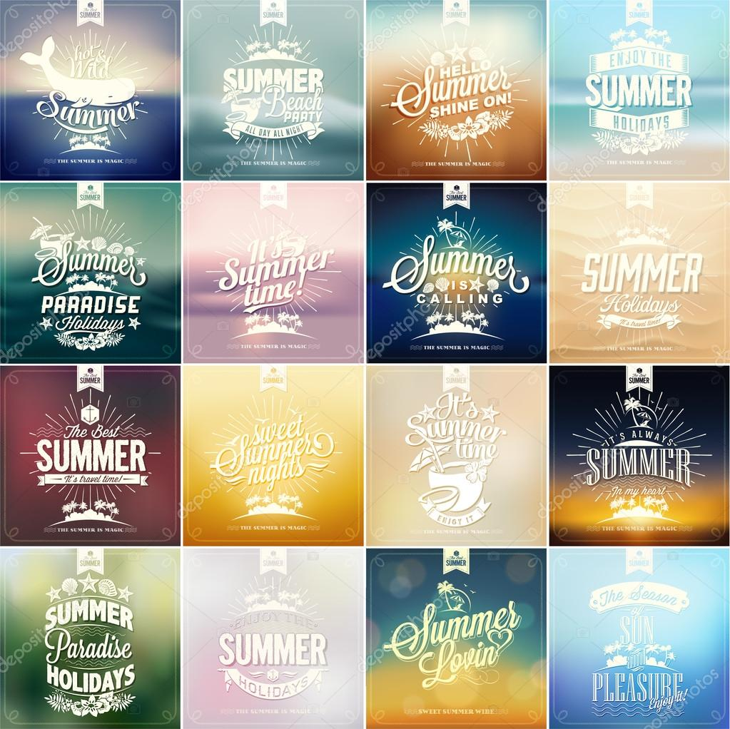 Retro elements for Summer calligraphic designs . Vintage ornaments . tropical paradise, sea, sunshine, weekend tour, beach vacation, bon voyage, adventure labels set