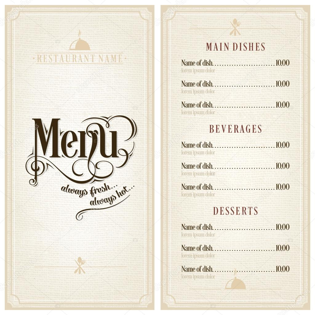 Restaurant or cafe menu design template vintage style