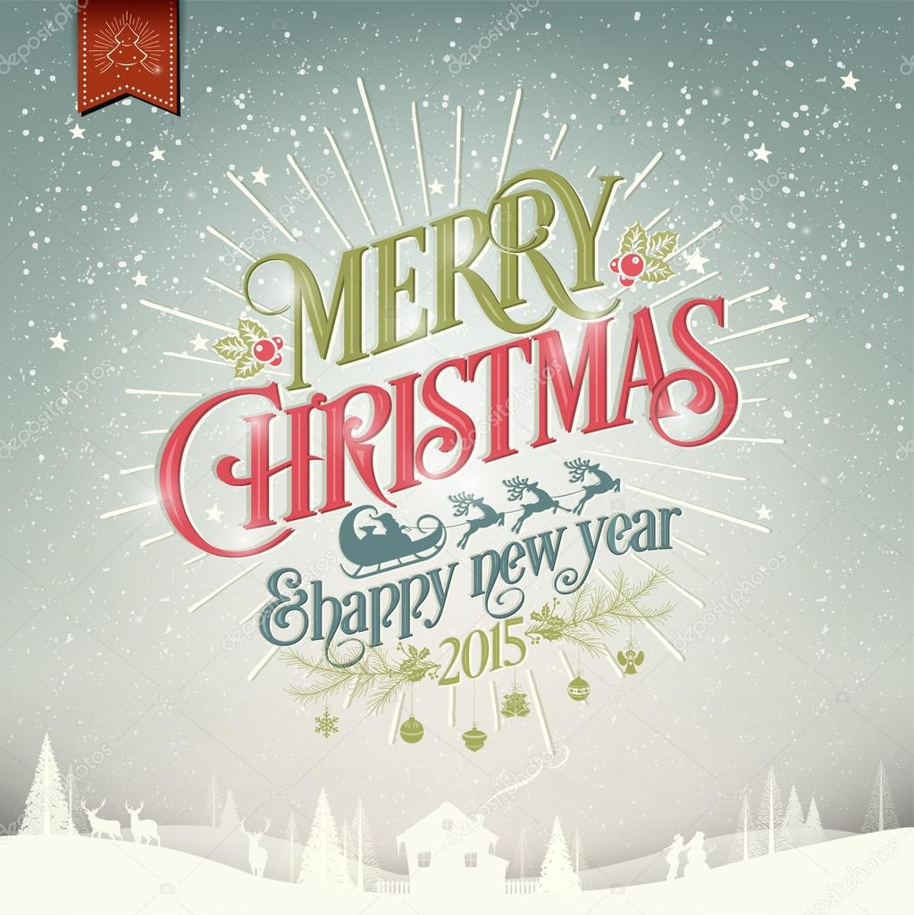 merry christmas and happy new year vintage christmas background with typography stock photo