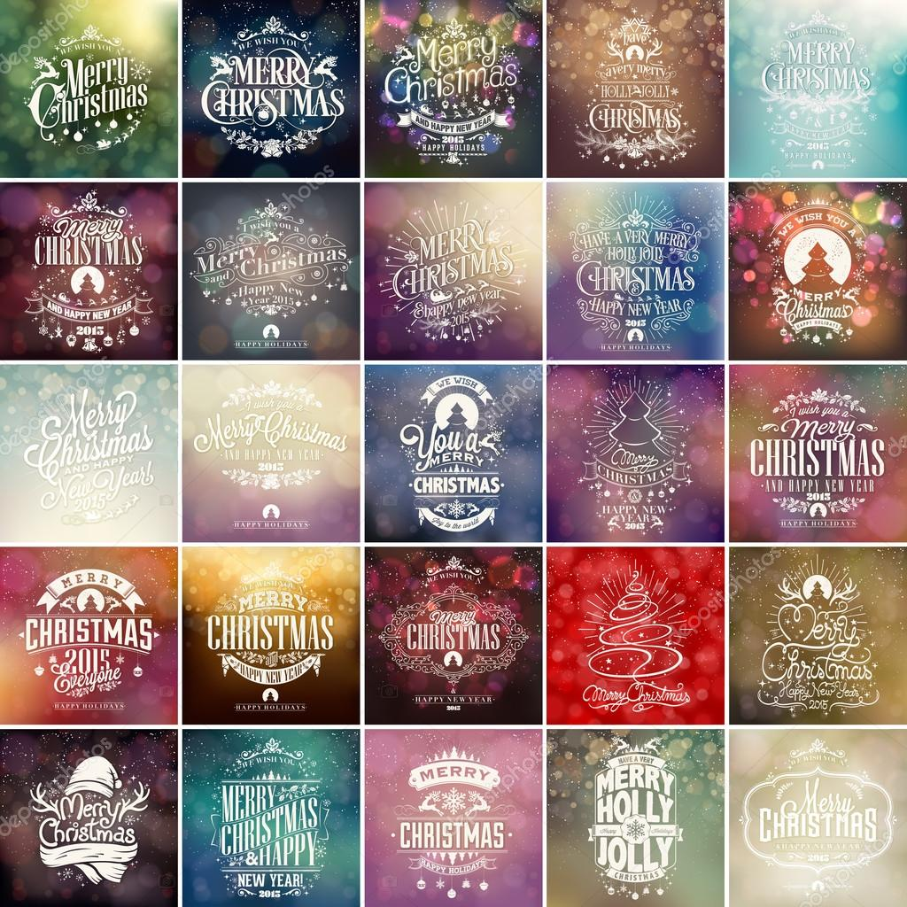 Colorful Christmas And New Year Typographical Background Set With Hand Drawn Christmas Ornaments