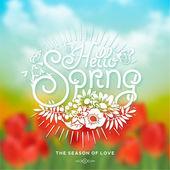 Fényképek Hello tavaszi tipográfiai háttér