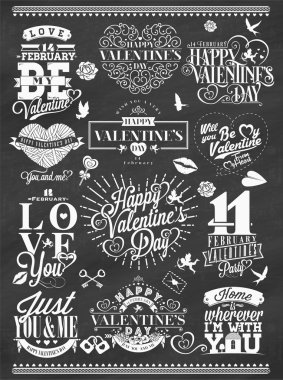 Set Of Happy Valentine's Day Hand Lettering - Typographical Background On Chalkboard With Ornaments, Hearts, Ribbon and Arrow stock vector