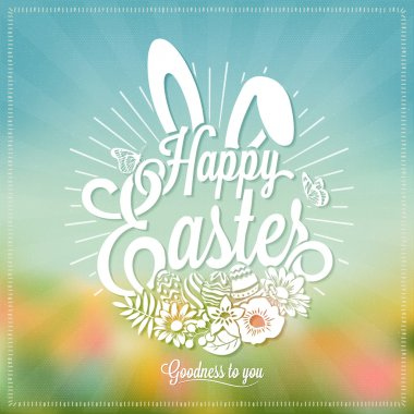 Beautiful Easter Typographical Background With Rabbit And Flowers