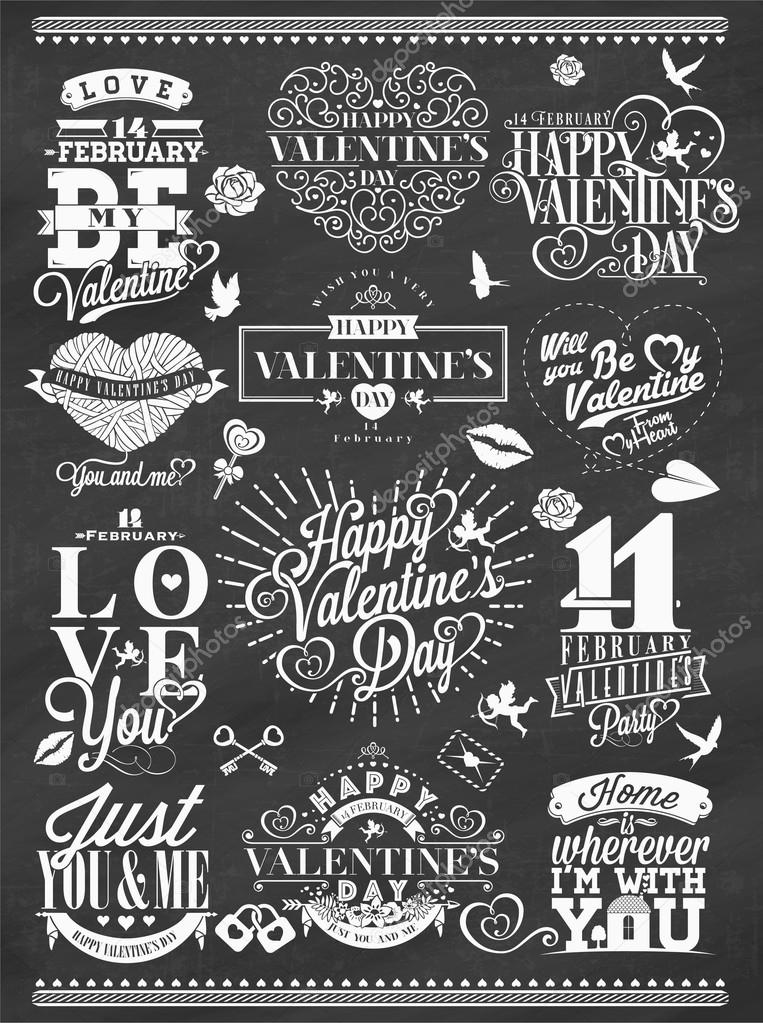 Set Of Happy Valentine S Day Hand Lettering Typographical