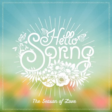 Hello Spring Background With Flowers