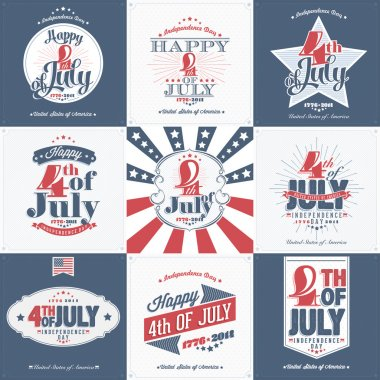 Set of Vintage Greeting Cards of Happy Independence Day