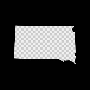 South Dakota US state stencil map. Laser cutting template on transparent background. Die cut vector shape. Silhouette mockup for any purposes. icon