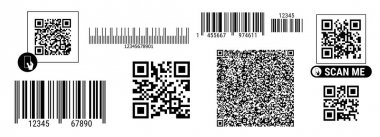 Barcode and QR code set. Product identity labels for scanning. Stripped identification retail marks. Flat style vector illustration isolated on white background. icon