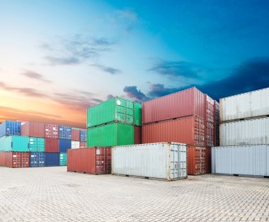 Stack of cargo containers at the docks