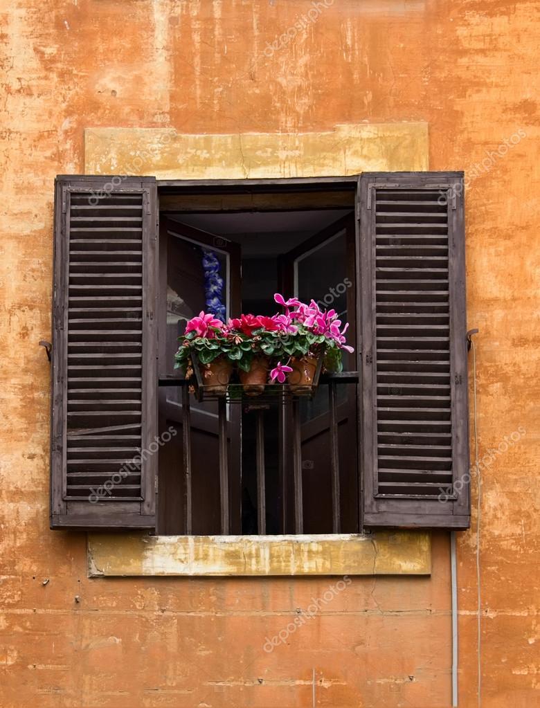 Finestra aperta con vasi di fiori sulla facciata a roma for Finestra con fiori disegno