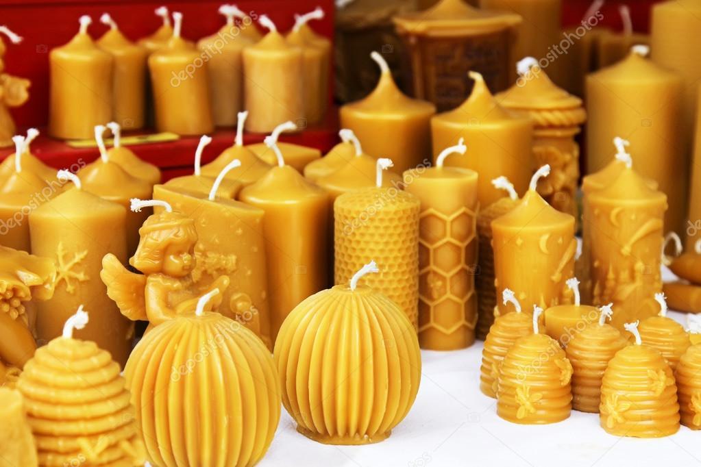 Candele Di Cera.Candele Di Cera D Api Il Mercatino Di Natale Foto Stock