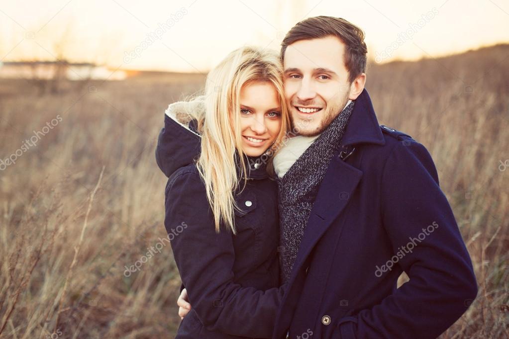 portrait of young pretty fashion couple.