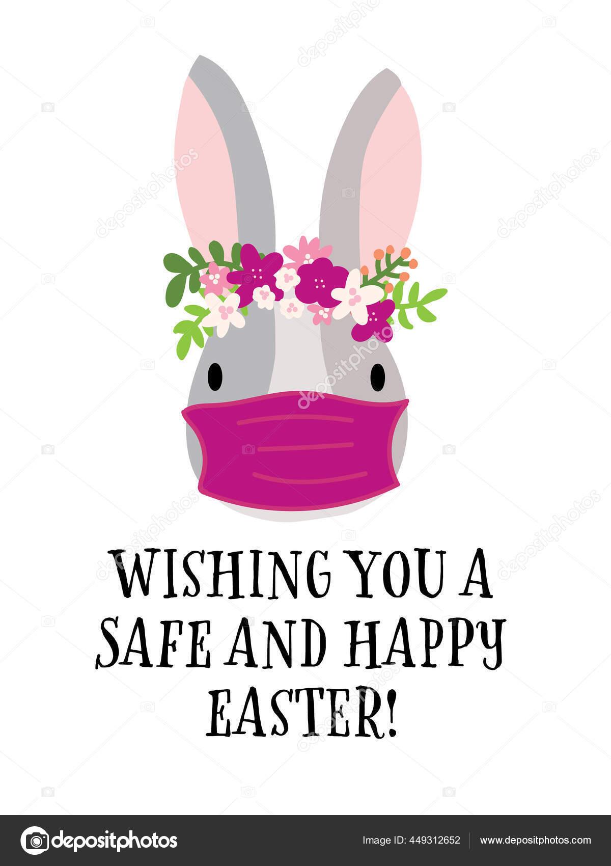 Covid Easter Rabbit Greeting Card Template Vector Selamat Paskah 2021 Tetaplah Di Rumah Dan Selamat Kelinci Coronavirus Dengan Topeng Pelindung Wajah Medis Cute Tangan Digambar Ilustrasi Terisolasi Di Latar Belakang Putih