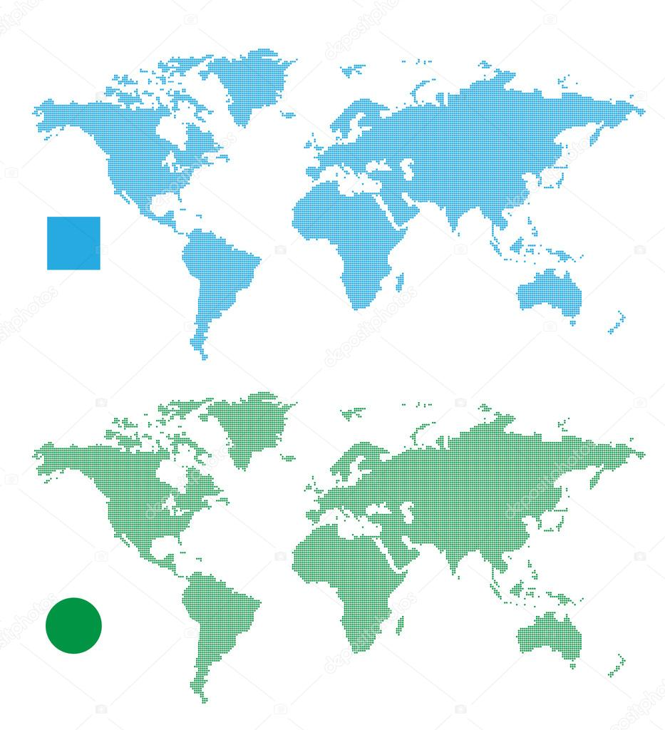World Maps abstract rectangle and dot.