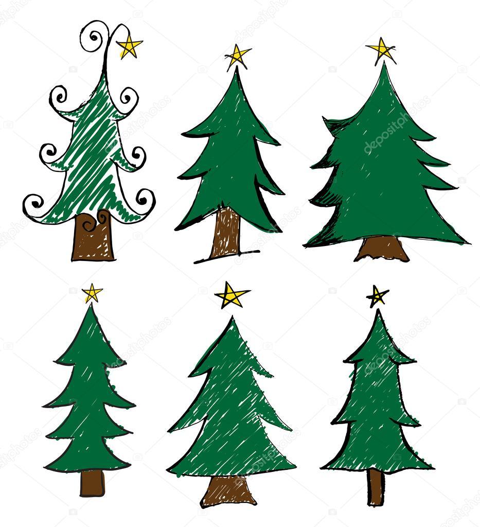 Dibujos de arboles de navidad para tarjetas