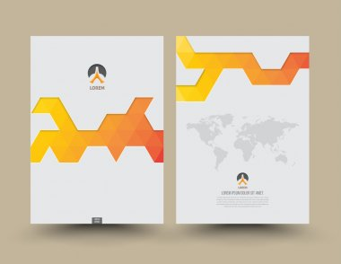 Cover template front and back triangle pattern modern style.