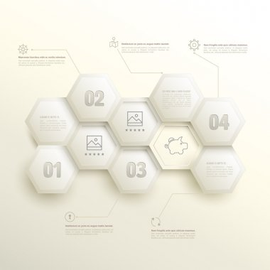 Infographic hexagons with number options.