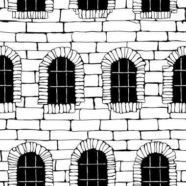 Seamless brick wall with windows, background (drawn with ink).